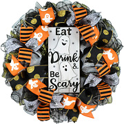 Eat Drink And Be Scary Ghost Halloween Front Door Mesh Wreaths - Black White Gold