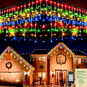 Christmas Lights Outdoor Decorations 1216 Led 99ft 8 Modes Curtain Fairy String
