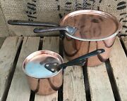 2 X Pair Of Antique French Chef Copper Pots Pans + Lids And Riveted Iron Handles