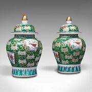 Pair Of Vintage Ginger Jars, Chinese, Hand Painted, Ceramic, Spice Pot, Art Deco