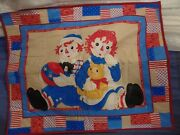 New Raggedy Ann And Andy Quilt Fabric Panel Baby Quilt Handmade 34 X 42