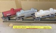 O Scale Tank Cars- 3 Lionel Cars - Gulf, Sunoco, Mobilgas - Weathered - No Boxes