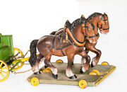 Antique Rare Vintage Wooden Pull Toy Two Horses And Wagon. Hand Painted.