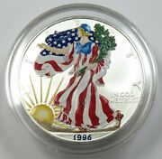 1996 Colorized Silver American Eagle Dollar 1 Us Coin Item 29512p