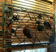 Vintagewrought Iron Wall Art Sculture Faces Hands Approx 2 H X 39 Long