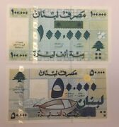 Lebanon Set 50000 And 100000 Livres 2001 P-82 And P-83 Matching Last 2 Digit Serial