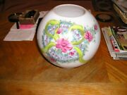 Antique Victorian Gone With The Wind Glass Oil Lamp Globe Shade Floral