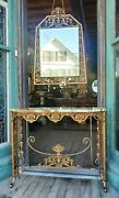 Antique Wrought Iron And Bronze Console W Mirror Griffins Flower Baskets