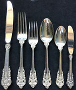 6 Piece Place Setting Sterling Silver Wallace Grande Baroque Forks Spoons Knives
