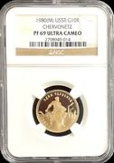 1980 M Russia Ussr Chervonetz 10 Rouble Gold Coin Ngc Pf 69 Ultra Cameo