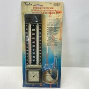 Vintage Taylor Indoor/outdoor Wall Thermometer With Humidity Dial 5387 - Nos