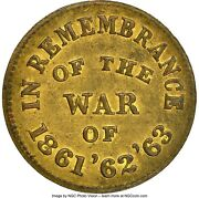 Pcwt Fuld 24/246b Ngc Ms-62 - War Of And03961 And03962 And03963 - Only Certified Token In Brass