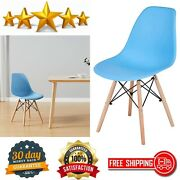 Home Office Modern Mid-century Shell Lounge Plastic Dsw Side Dining-chairs, Blue