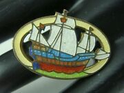 Vintage Art Deco Guillouche Tall Ship Colorful Pin Brooch