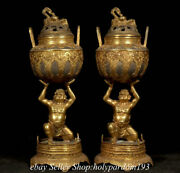 12.4 Old Chinese Silver 24k Gold Gilt Dynasty Human Censer Statue Pair