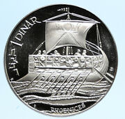 1969 Tunisia Historical Greek Phoenician Ship Old Proof Silver Dinar Coin I96132