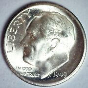 1949 S Roosevelt Silver Bu Dime 10c Us Coin San Francisco Minted Uncirculated