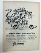 Vtg Enco Extra Humble Oil And Refining Co. Tiger Magazine Print Ad June 1967