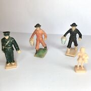 """Vintage Celluloid Tiny Toy Figures 4 Pcs. Policeman Little Girl Working Men 1.5"""""""