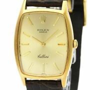 Vintage Rolex Cellini 3807 18k Gold Leather Hand-winding Mens Watch Bf532239