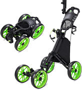 Hsccgi Golf Push Pull Cart With 4 Wheels, Foldable Collapsible Golf Push Cart Wi
