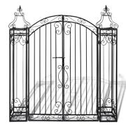 Arched Garden Gate 4'x8x4'5 Wrought Iron Ornamental Outdoor Estate Entryway Us
