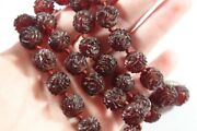 Antique Carved Rose Natural Cherry Amber Beaded Necklace