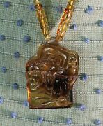 Burden Of Time Golden Amber Hand Carved Mayan Necklace Chiapas Mexican Folk Art