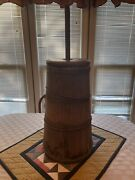 Antique Wooden Butter Churn With Megal Wire Rings