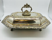 Vtg National Silver On Copper 14and039and039 Ornate Covered Footed Serving Dish 1107