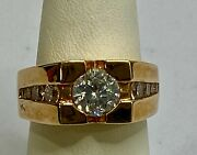 Vintage Signed Rsc Rs Covenant Menand039s Ring Gold Vermeil W Cz Gems Us Ring Size 8