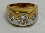 Vintage Signed Rsc Rs Covenant Menand039s Ring Gold Vermeil Rhodium Plated Cz Gems 8