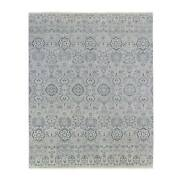8and0391x9and03910 Gray Agra With All Over Design Pure Soft Wool Hand Knotted Rug G66952