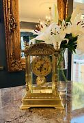 Beautiful French Four Glass And Brass Mantel Clock By Japy Frandegraveres C.1880