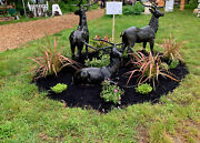 Cast Iron Stags Pair Bronze Finish Stag Pair Left And Right Large Size Stags