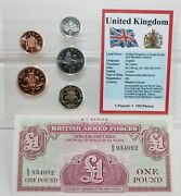 Great Britain Coin And Note Set 1-20 Pence Coins And 1 Pound Note Nice Examples