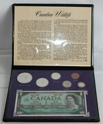 1967 Canadian Wildlife 6 Coin And Note Set 1c- 1 Coins Plus 1 Bill/note Set