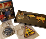 Star Trek 3 Collectible Pins And 2 Key Chains + Free Playing Cards - New