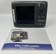 Lowrance Elite-5hdi Fishfinder Gps - Only Head, Manual, And Ram Mount Ball Clean