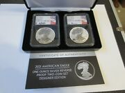 2021 Ase One Ounce Reverse Proof Two-coin Set Designer Edition Ngc Fdi Pf70