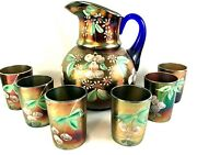 Early Antique Fenton Cherry Blossom Blue Carnival Glass Pitcher And Six Tumblers
