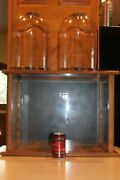 3 Glass Dome Wood Display Cases Lot Taxidermy Bird Whitetail Deer Fish Mount
