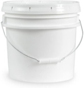3.5 Gallon White Plastic Bucket And Lid - Durable All Purpose Pail - Food Grade -