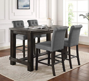 Roundhill Furniture Aneta Antique Black Finished Wood 5-piece Counter Height Din