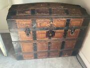 1800and039s Antique Vintage Steamer Trunk Chest - Dome Top