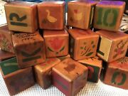 Vintage Wooden Wood Toy Blocks Handmade Cut And Painted Alphabet Numbers Pictures