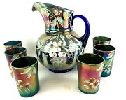 Early Antique Fenton Cherry Blossom Blue Carnival Glass Pitcher And 6 Tumblers