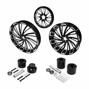 18and039and039 Front Rear Wheel Rim Disc Hub And Pulley Sprocket Fit For Harley Touring 08+