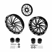 18and039and039 Front Rear Wheel Rim Disc Hub Andpulley Sprocket Fit For Harley Touring 08-21