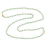 18k Yellow Gold Natural Emerald Beads Interlock Chain Necklace Jewelry For Her